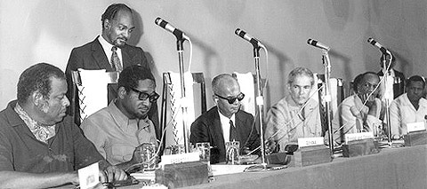 Caribbean Leaders come together in Chaguaramas to sign the treaty July 4th 1973